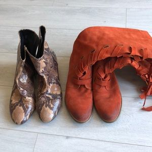 Two for $50 suede orange boots & leather booties